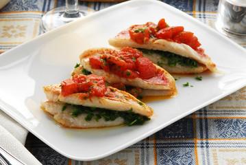 Triglie al pomodoro Mullets with tomato