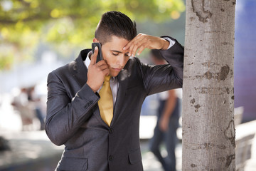 businessman talking at his cellphone
