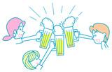 ビールで乾杯する女子