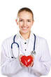 A female doctor  with stethoscope and red heart symbol isolated