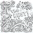 The Best Winner First Place Sketchy Doodles Vector