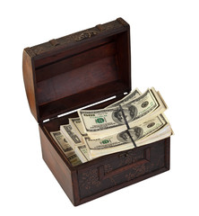 US dollars banknotes in treasure  trunk. Isolated on white