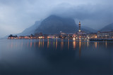 Beautiful view of Lecco in Como Lake Italy at dusk