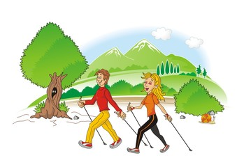 nordic walking  cartoon