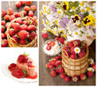 strawberries   collage, fruit basket and cake