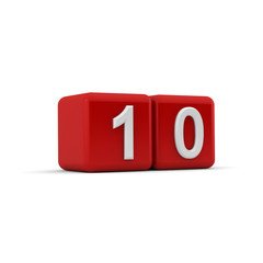 Red 3D block with number ten