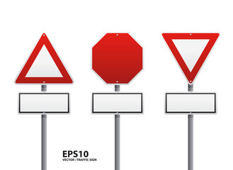 vector red traffic sign