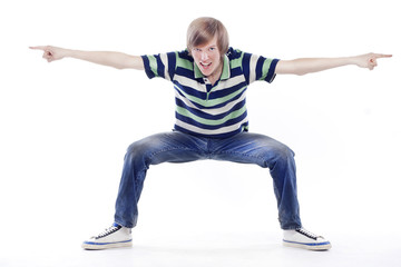 Young man dancing locking or hip-hop