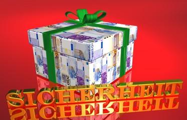 3D Geldgeschenk rot - SICHERHEIT