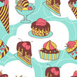 Holiday seamless pattern from sweet, cakes and acecream