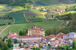 Barolo Castle and hills of Piedmont. Northern Italy.