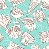 Fototapety Holiday seamless pattern from sweet, cakes and acecream