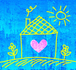 Drawing of house on blue abstract background