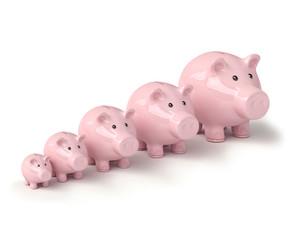 vier rosa Sparschweine