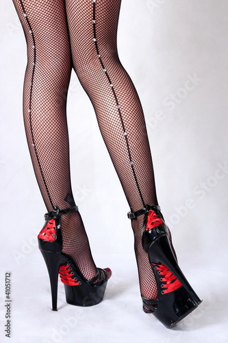 Legs and stockings in high heels