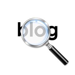 Icono lupa 3D con texto blog