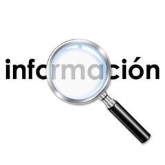 Icono lupa 3D con texto informacion