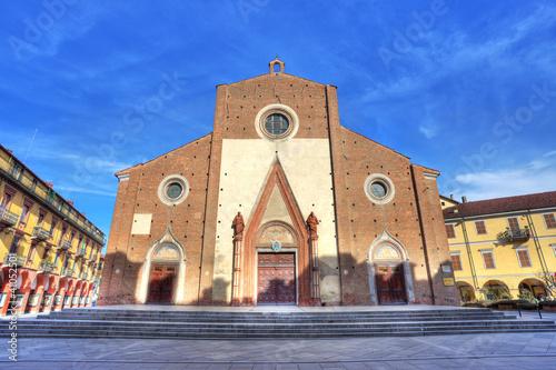 Facade of Duomo di Saluzzo, Italy.