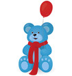 Blue Teddy bear with red balloon