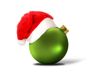 green ball with christmas hat