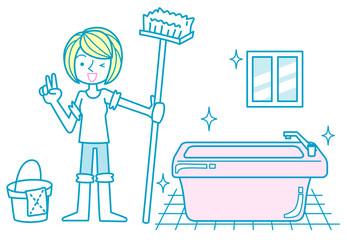 お風呂掃除をする女性