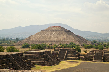 Teotihuacan. Ruined pyramid temples are now a major archaeologic