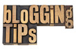 blogging tips in letterpress type