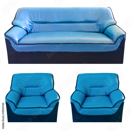 set of the blue leather sofa