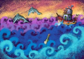 barco y olas