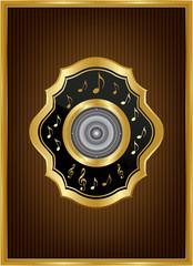 Altın çerçeveli motifli hoparlör