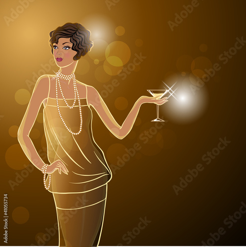 Retro party invitation design with girl. Vector illustration.
