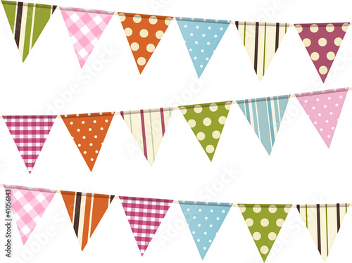bunting background on white
