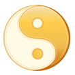 Taoism Symbol, gold Yin Yang mandala of Tao faith