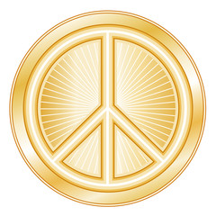 Peace Symbol, gold international icon of peace on earth