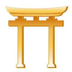 Shinto Symbol, golden Torii Gate, icon of Shinto faith