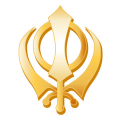 Sikh Symbol, gold Sikh Khanda, icon of the Sikh faith