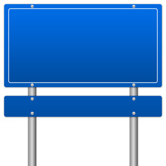 Blank Blue Traffic Information Sign Isolate on White Background