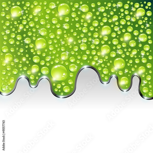 Acqua Verde Gocce Brillante-Bright Green Water Drops-Vector