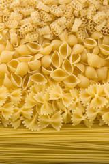 of raw pasta and spaghetti