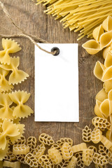pasta and price tag on wood