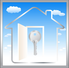 abstract blue symbol with cloud, door and key in home