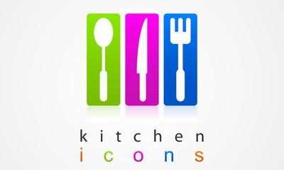 Colorful set kitchen appliances.