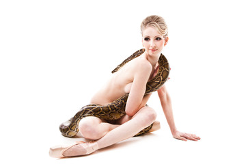 attractive nude ballerina with python on isolated white