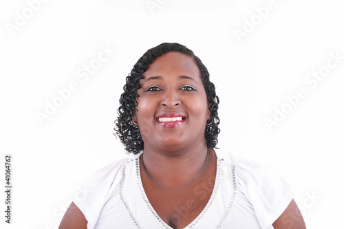 Portrait of a young beautiful black woman looking camera