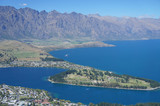 Aerial view of Queenstown With Lake Wakatipu at Noon.