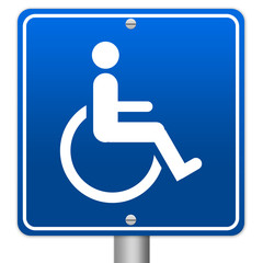 Blue Square Wheelchair Handicap Sign Isolated on White