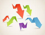 Colorful polygonal origami arrow banners. Place your text here poster