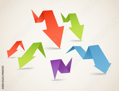 Poster Geometrische dieren Colorful polygonal origami arrow banners. Place your text here