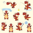 Red cartoon dragon set