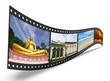 3D film strip with nice pictures of Phuket Thailand, concept of